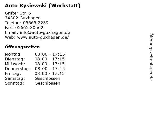 Auto Rysiewski (Werkstatt) in Guxhagen: Adresse und Öffnungszeiten