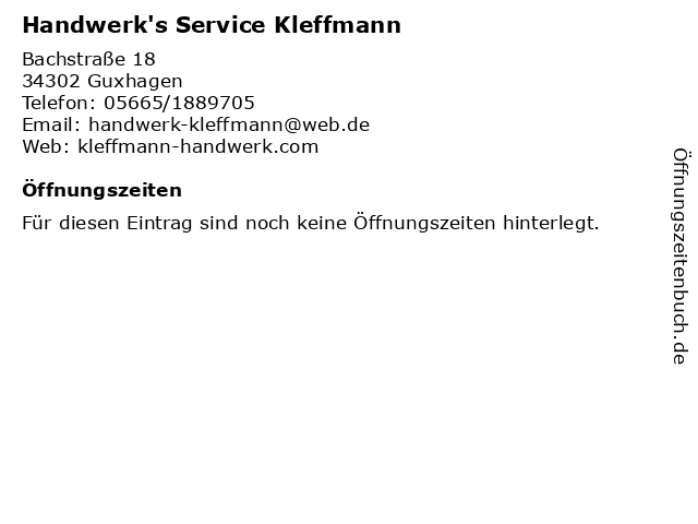 Handwerk's Service Kleffmann in Guxhagen: Adresse und Öffnungszeiten