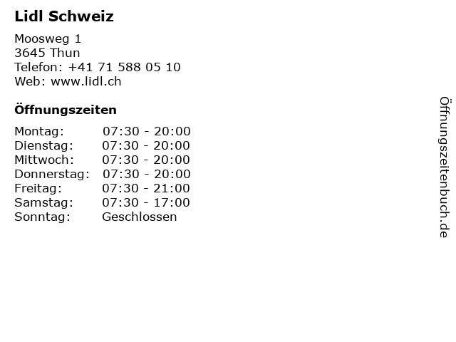 Lidl Schweiz in Gwatt (Thun): Adresse und Öffnungszeiten