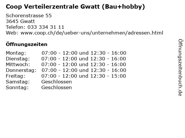 Coop Verteilerzentrale Gwatt (Bau+hobby) in Gwatt: Adresse und Öffnungszeiten