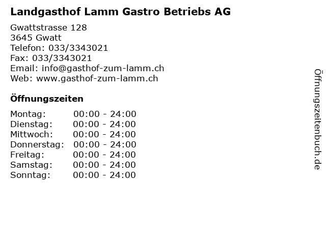 Landgasthof Lamm Gastro Betriebs AG in Gwatt: Adresse und Öffnungszeiten
