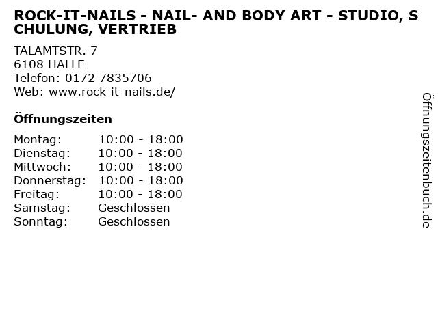 ROCK-IT-NAILS - NAIL- AND BODY ART - STUDIO, SCHULUNG, VERTRIEB in HALLE: Adresse und Öffnungszeiten
