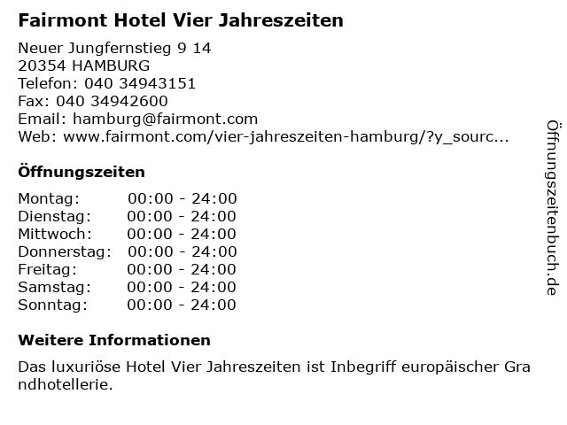 Fairmont Hotel Vier Jahreszeiten in Hamburg: Adresse und Öffnungszeiten