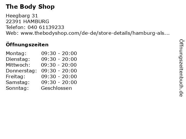 The Body Shop in Hamburg: Adresse und Öffnungszeiten