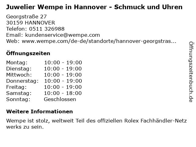 Juwelier Wempe in Hannover: Adresse und Öffnungszeiten