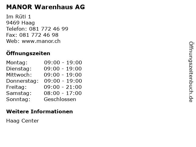 MANOR Warenhaus AG in Haag: Adresse und Öffnungszeiten
