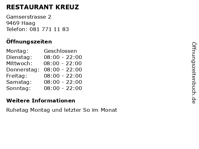 RESTAURANT KREUZ in Haag: Adresse und Öffnungszeiten