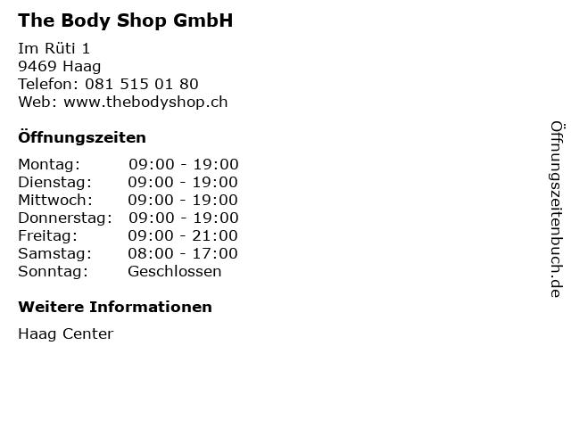 The Body Shop GmbH in Haag: Adresse und Öffnungszeiten