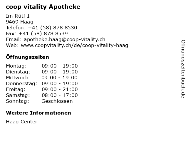 coop vitality apotheke in Haag: Adresse und Öffnungszeiten