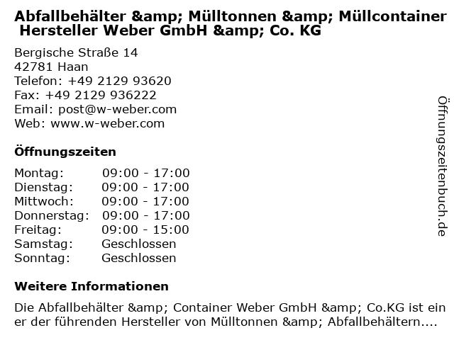 Abfallbehälter & Mülltonnen & Müllcontainer Hersteller Weber GmbH & Co. KG in Haan: Adresse und Öffnungszeiten