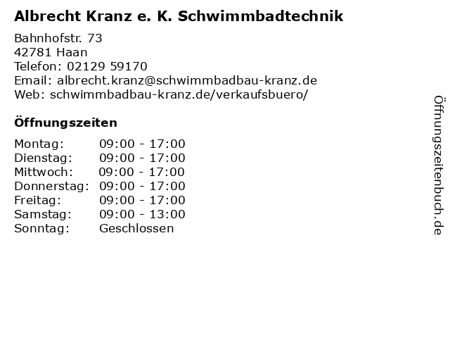 Albrecht Kranz e. K. Schwimmbadtechnik in Haan: Adresse und Öffnungszeiten