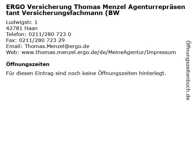 ERGO Versicherung Thomas Menzel Agenturrepräsentant Versicherungsfachmann (BW in Haan: Adresse und Öffnungszeiten