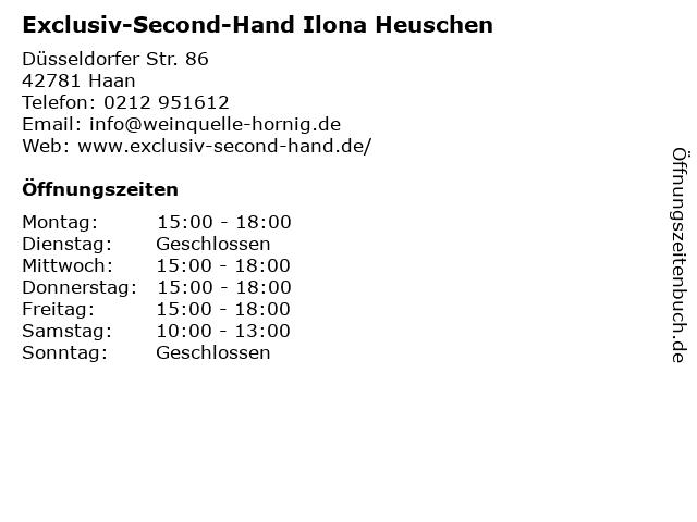 Exclusiv-Second-Hand Ilona Heuschen in Haan: Adresse und Öffnungszeiten