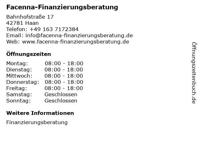 Facenna-Finanzierungsberatung in Haan: Adresse und Öffnungszeiten