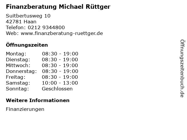 Finanzberatung Michael Rüttger in Haan: Adresse und Öffnungszeiten