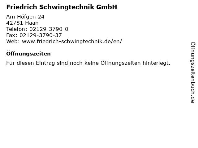 Friedrich Schwingtechnik GmbH in Haan: Adresse und Öffnungszeiten