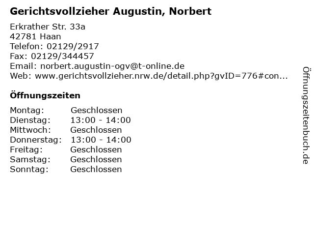 Gerichtsvollzieher Augustin, Norbert in Haan: Adresse und Öffnungszeiten