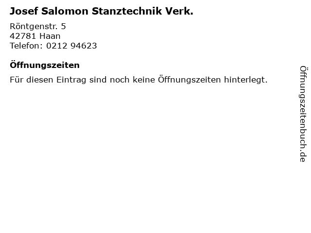 Josef Salomon Stanztechnik Verk. in Haan: Adresse und Öffnungszeiten