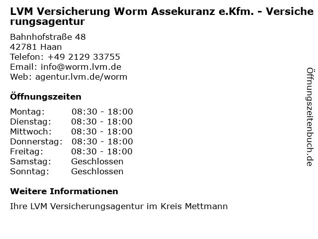 LVM Versicherung Worm Assekuranz e.Kfm. - Versicherungsagentur in Haan: Adresse und Öffnungszeiten