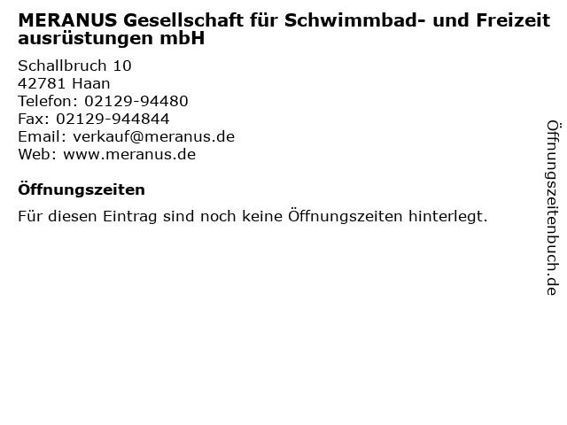 MERANUS Gesellschaft für Schwimmbad- und Freizeitausrüstungen mbH in Haan: Adresse und Öffnungszeiten