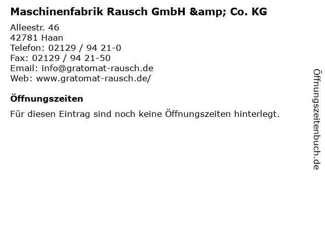 Maschinenfabrik Rausch GmbH & Co. KG in Haan: Adresse und Öffnungszeiten