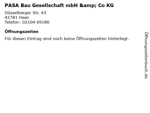 PASA Bau Gesellschaft mbH & Co KG in Haan: Adresse und Öffnungszeiten