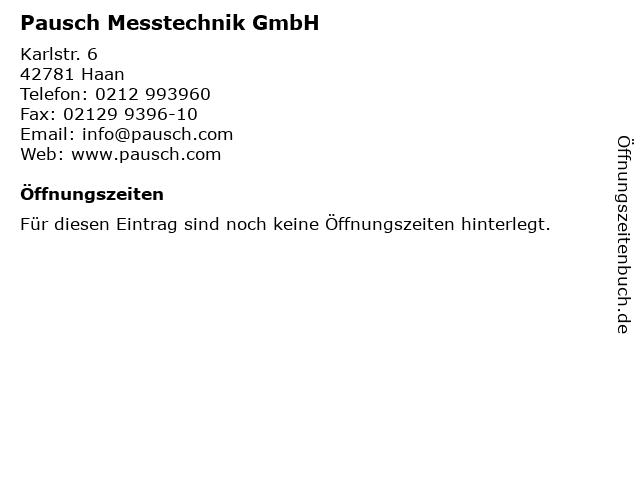 Pausch Messtechnik GmbH in Haan: Adresse und Öffnungszeiten