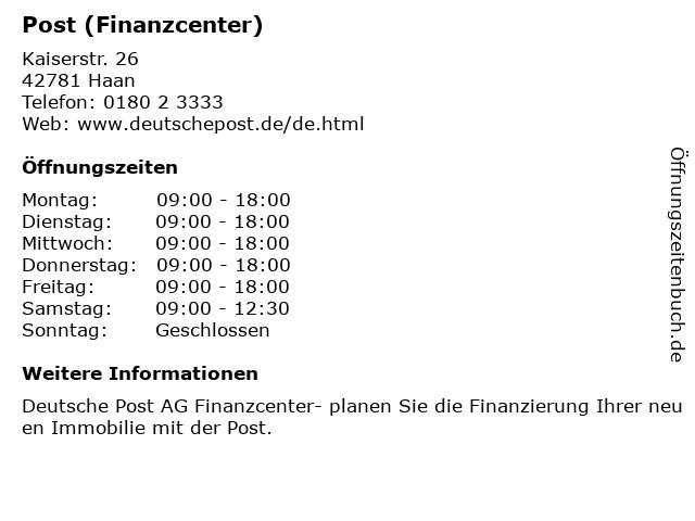 Post (Finanzcenter) in Haan: Adresse und Öffnungszeiten