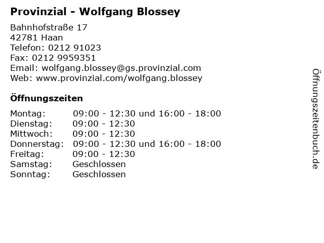 Provinzial - Wolfgang Blossey in Haan: Adresse und Öffnungszeiten