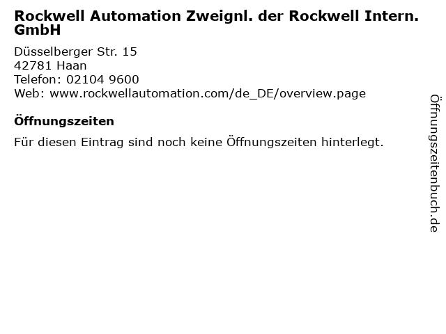 Rockwell Automation Zweignl. der Rockwell Intern. GmbH in Haan: Adresse und Öffnungszeiten