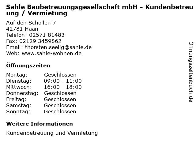 Sahle Baubetreuungsgesellschaft mbH - Kundenbetreuung / Vermietung in Haan: Adresse und Öffnungszeiten