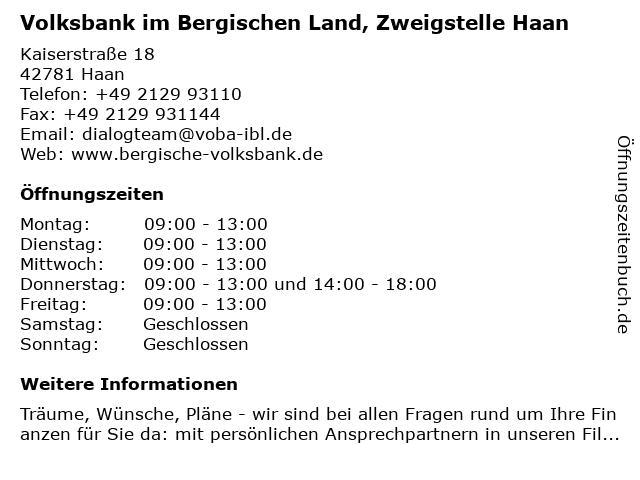 Volksbank im Bergischen Land, Zweigstelle Haan in Haan: Adresse und Öffnungszeiten
