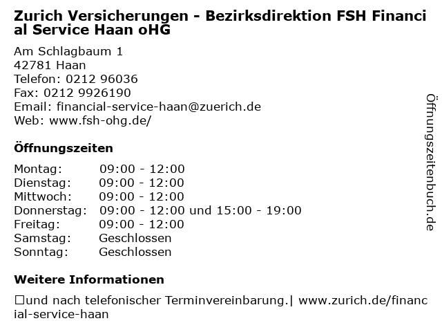 Zurich Versicherungen - Bezirksdirektion FSH Financial Service Haan oHG in Haan: Adresse und Öffnungszeiten