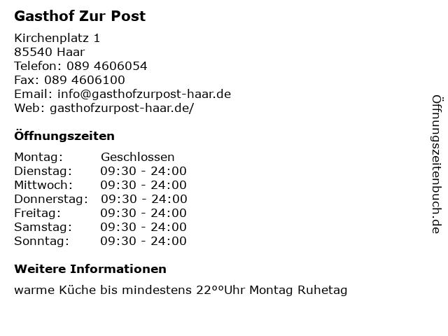 ᐅ öffnungszeiten Gasthof Zur Post Kirchenplatz 1 In Haar