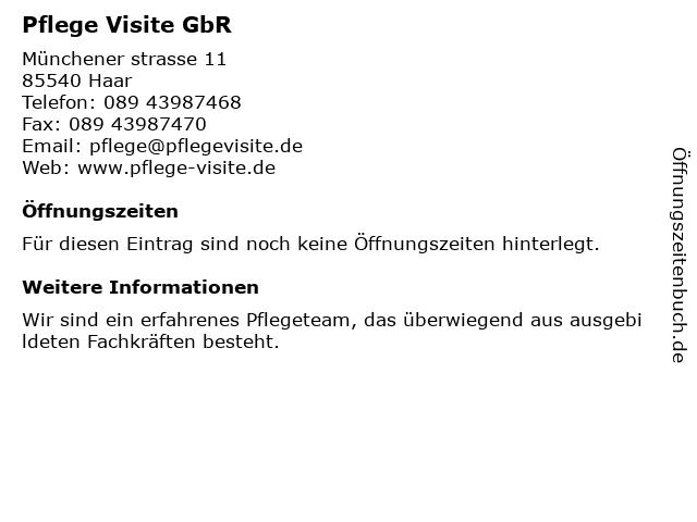 Pflege Visite GbR in Haar: Adresse und Öffnungszeiten