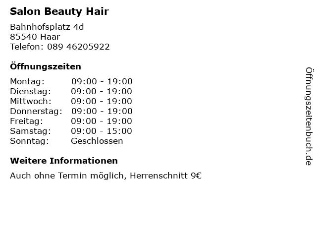 ᐅ öffnungszeiten Salon Beauty Hair Bahnhofsplatz 4d In Haar