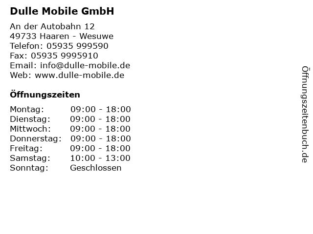 ᐅ öffnungszeiten Dulle Mobiel Gmbh An Der Autobahn 12 In Haaren