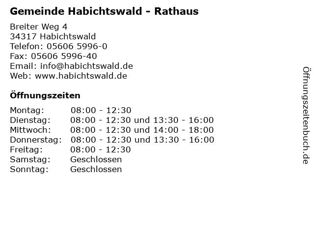 Gemeinde Habichtswald - Rathaus in Habichtswald: Adresse und Öffnungszeiten