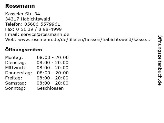 Rossmann in Habichtswald: Adresse und Öffnungszeiten