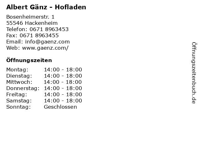 Albert Gänz - Hofladen in Hackenheim: Adresse und Öffnungszeiten