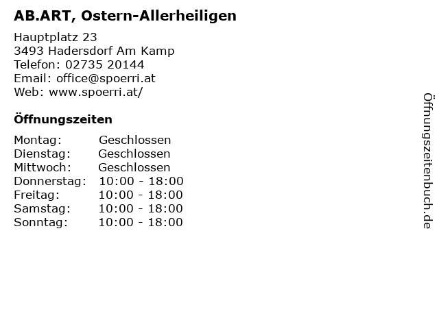 AB.ART, Ostern-Allerheiligen in Hadersdorf Am Kamp: Adresse und Öffnungszeiten