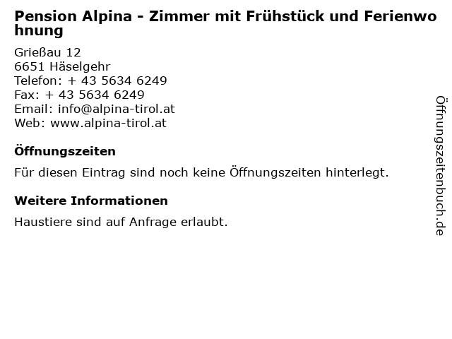 Pension Alpina - Zimmer mit Frühstück und Ferienwohnung in Häselgehr: Adresse und Öffnungszeiten