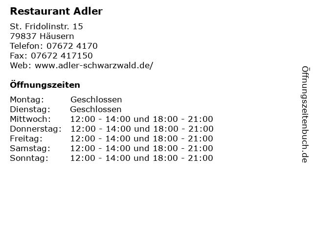 Restaurant Adler in Häusern: Adresse und Öffnungszeiten