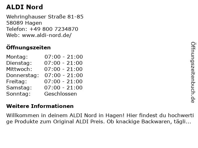 ALDI Nord in Hagen: Adresse und Öffnungszeiten