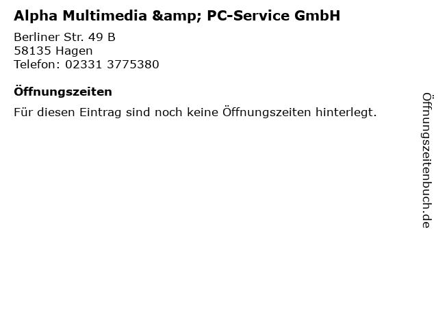 Alpha Multimedia & PC-Service GmbH in Hagen: Adresse und Öffnungszeiten