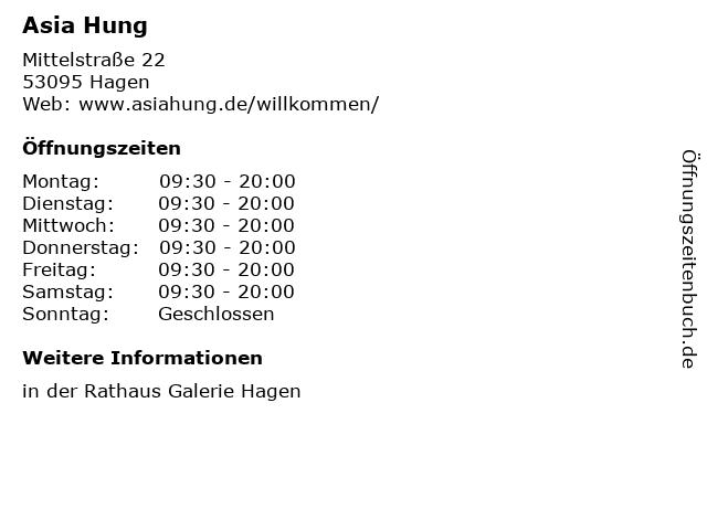 Asia Hung in Hagen: Adresse und Öffnungszeiten