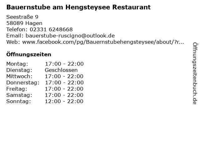 Bauernstube am Hengsteysee Restaurant in Hagen: Adresse und Öffnungszeiten