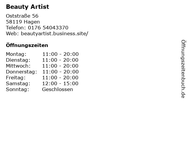 Beauty Artist in Hagen: Adresse und Öffnungszeiten