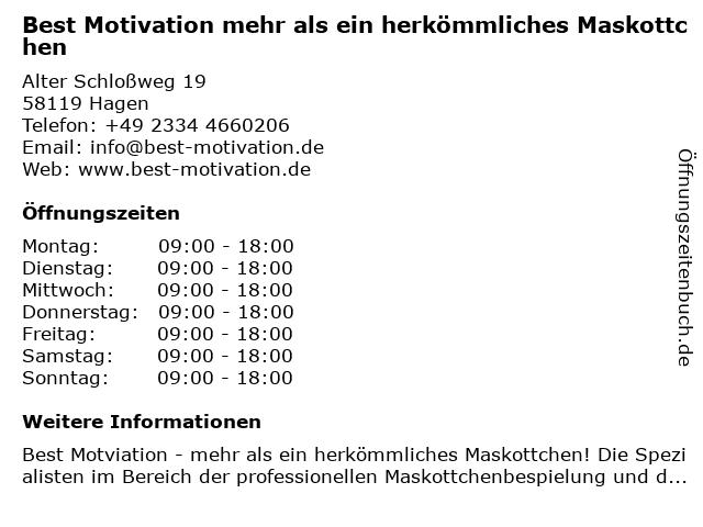 Best Motivation mehr als ein herkömmliches Maskottchen in Hagen: Adresse und Öffnungszeiten