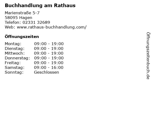 Buchhandlung am Rathaus in Hagen: Adresse und Öffnungszeiten